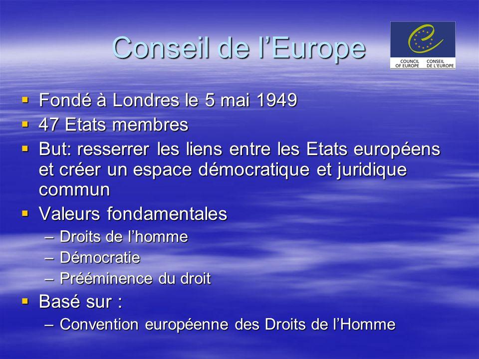 Conseil de l'Europe Fondé à Londres le 5 mai 1949 47 Etats membres