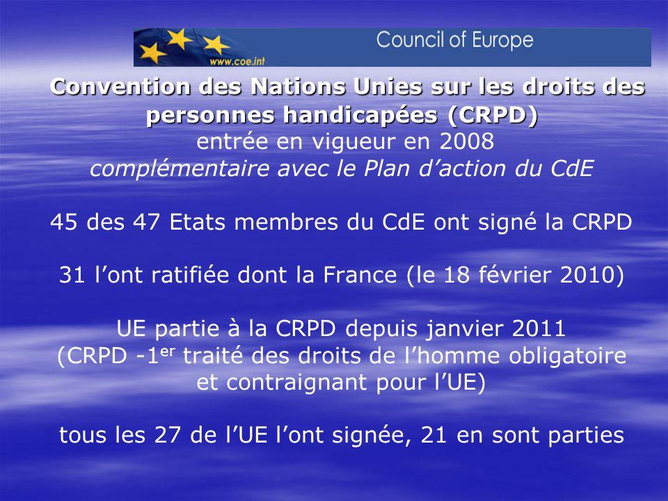 Convention des Nations Unies sur les droits des personnes handicapées (CRPD) entrée en vigueur en 2008 complémentaire avec le Plan d'action du CdE 45 des 47 Etats membres du CdE ont signé la CRPD 31 l'ont ratifiée dont la France (le 18 février 2010) UE partie à la CRPD depuis janvier 2011 (CRPD -1er traité des droits de l'homme obligatoire et contraignant pour l'UE) tous les 27 de l'UE l'ont signée, 21 en sont parties