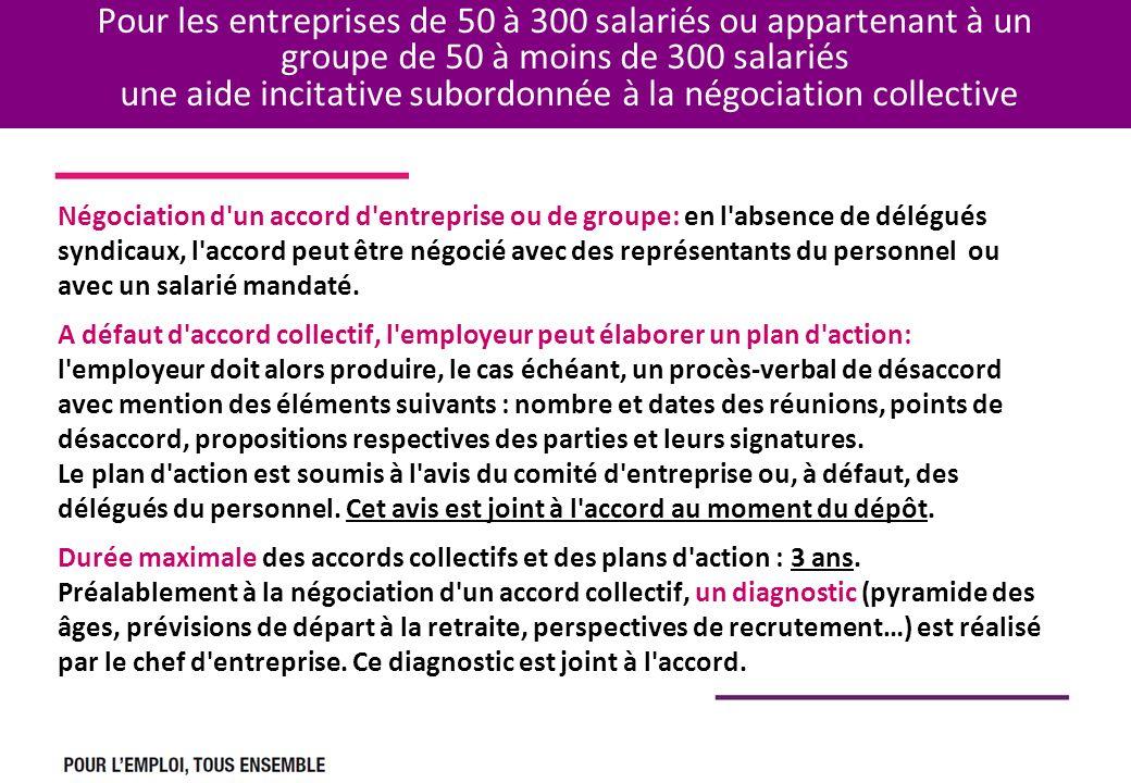 Pour les entreprises de 50 à 300 salariés ou appartenant à un groupe de 50 à moins de 300 salariés une aide incitative subordonnée à la négociation collective