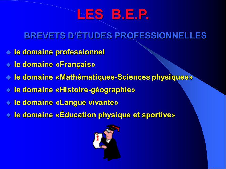 LES B.E.P. BREVETS D'ÉTUDES PROFESSIONNELLES