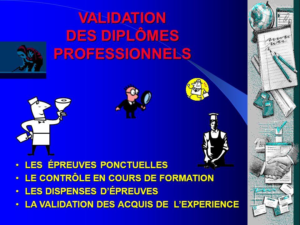 VALIDATION DES DIPLÔMES PROFESSIONNELS