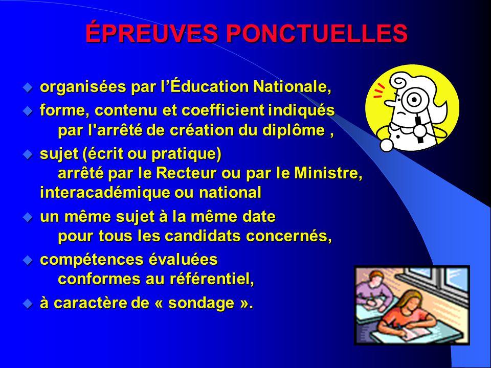 ÉPREUVES PONCTUELLES organisées par l'Éducation Nationale,