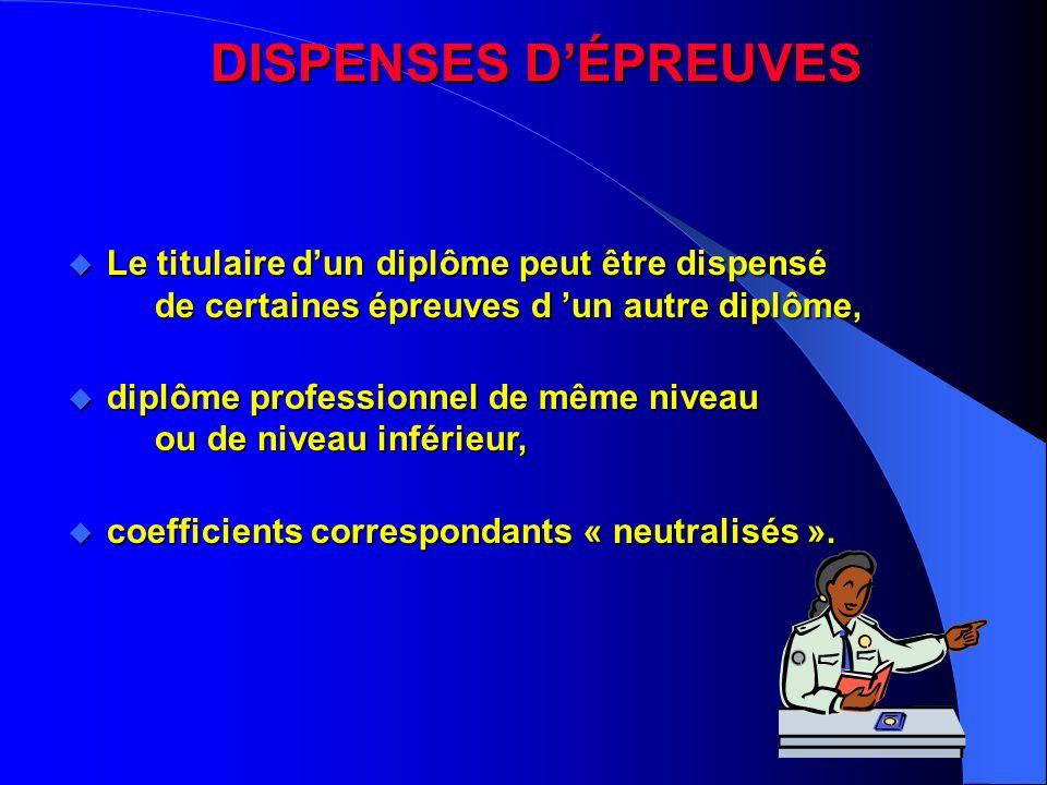 DISPENSES D'ÉPREUVES Le titulaire d'un diplôme peut être dispensé de certaines épreuves d 'un autre diplôme,