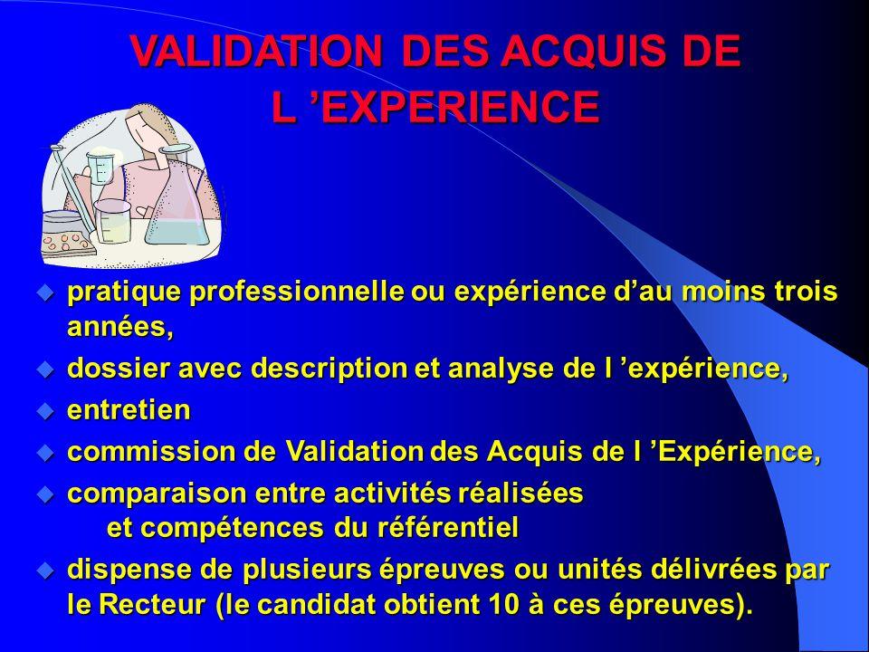 VALIDATION DES ACQUIS DE L 'EXPERIENCE