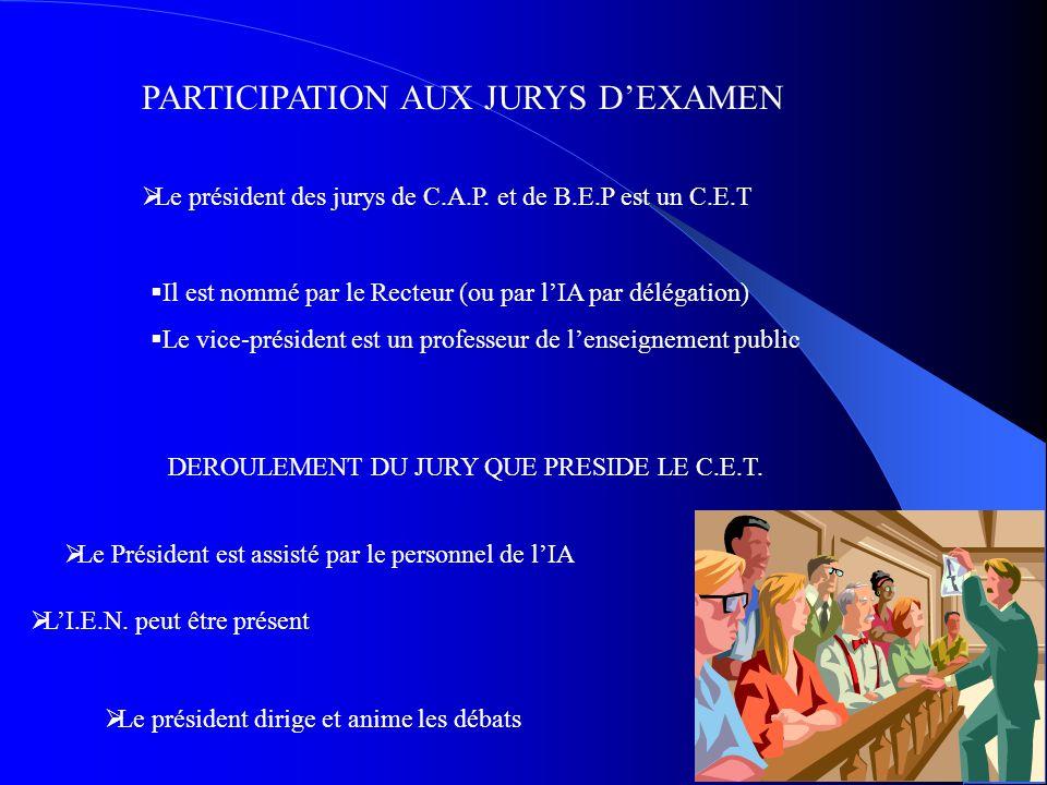 PARTICIPATION AUX JURYS D'EXAMEN