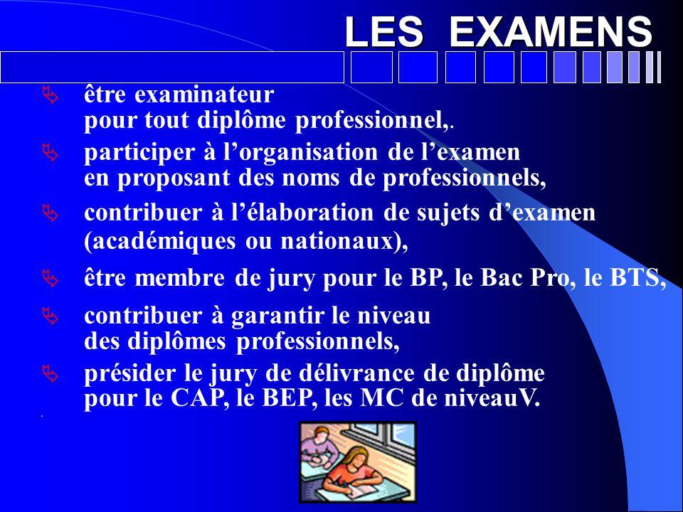 LES EXAMENS être examinateur pour tout diplôme professionnel,.