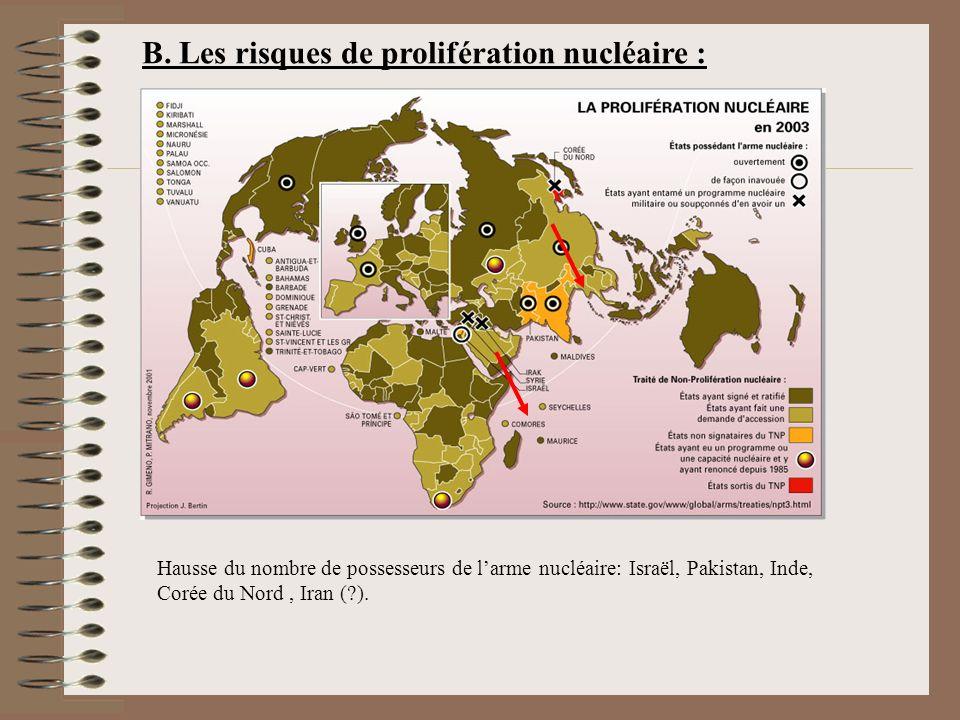 B. Les risques de prolifération nucléaire :