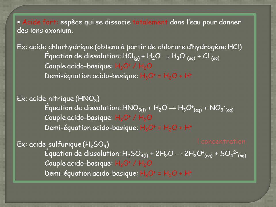 Acide fort: espèce qui se dissocie totalement dans l'eau pour donner des ions oxonium.