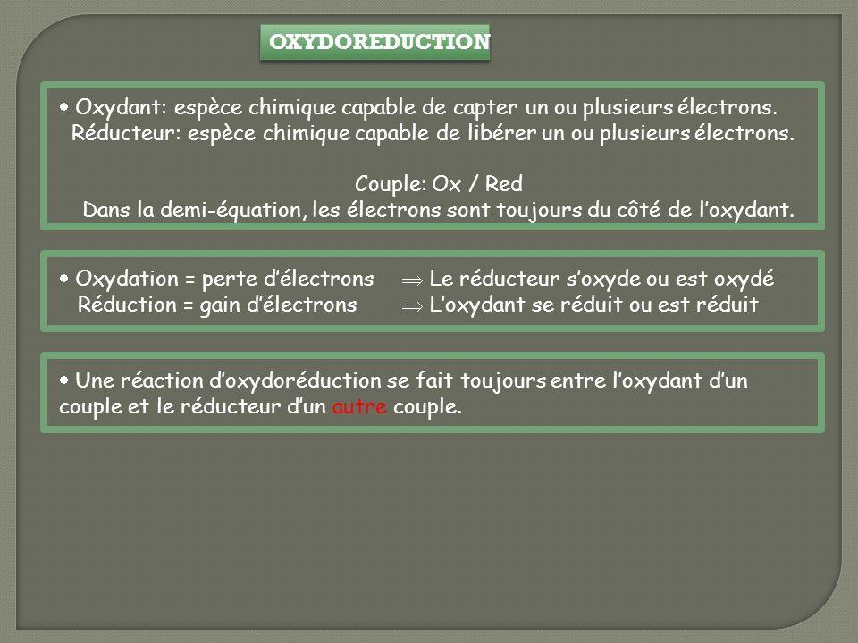 OXYDOREDUCTION Oxydant: espèce chimique capable de capter un ou plusieurs électrons.