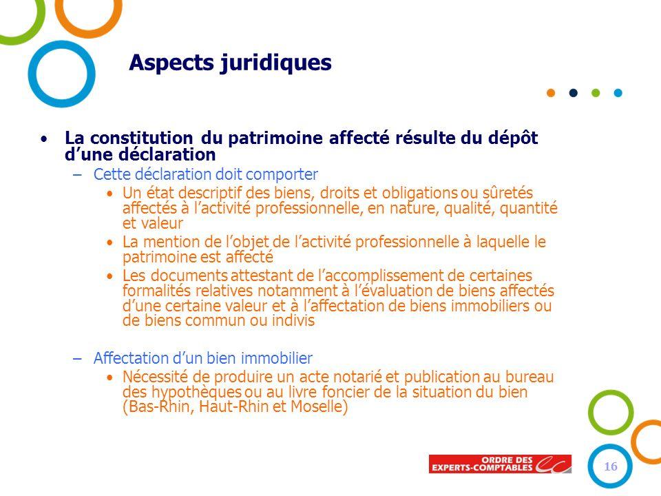Aspects juridiques La constitution du patrimoine affecté résulte du dépôt d'une déclaration. Cette déclaration doit comporter.