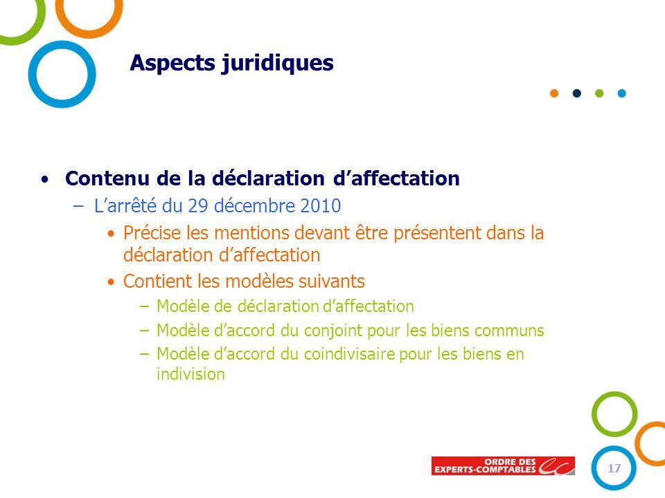 Aspects juridiques Contenu de la déclaration d'affectation