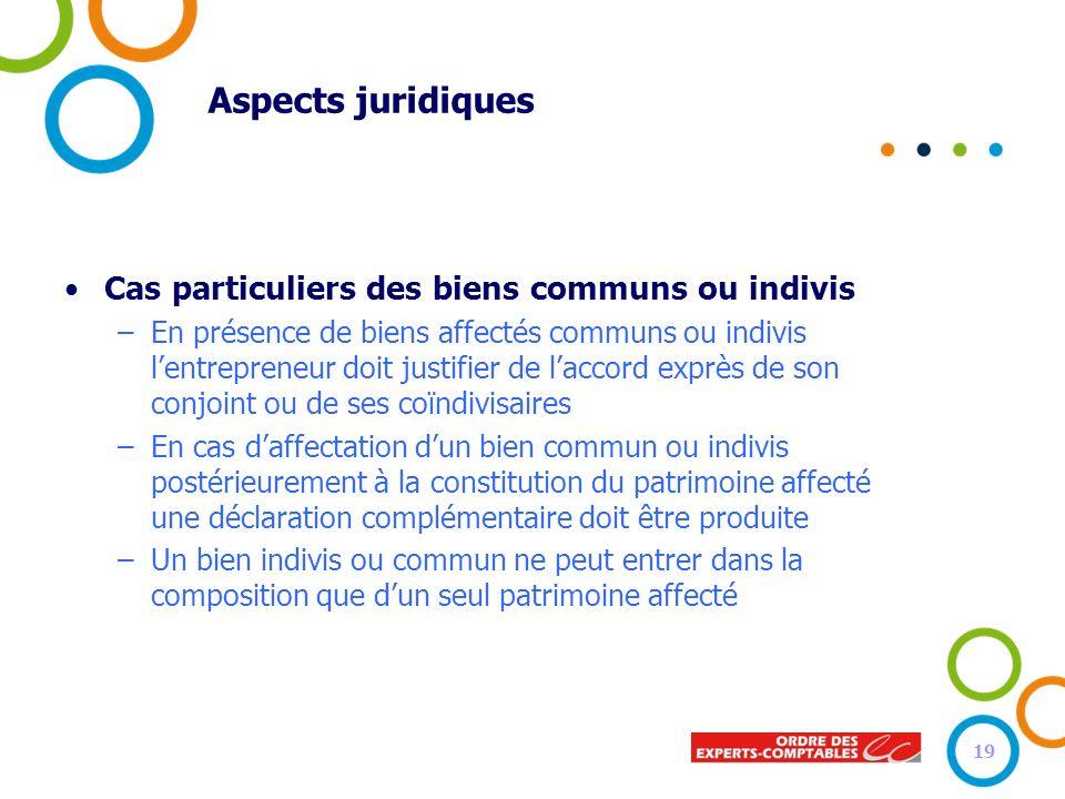 Aspects juridiques Cas particuliers des biens communs ou indivis