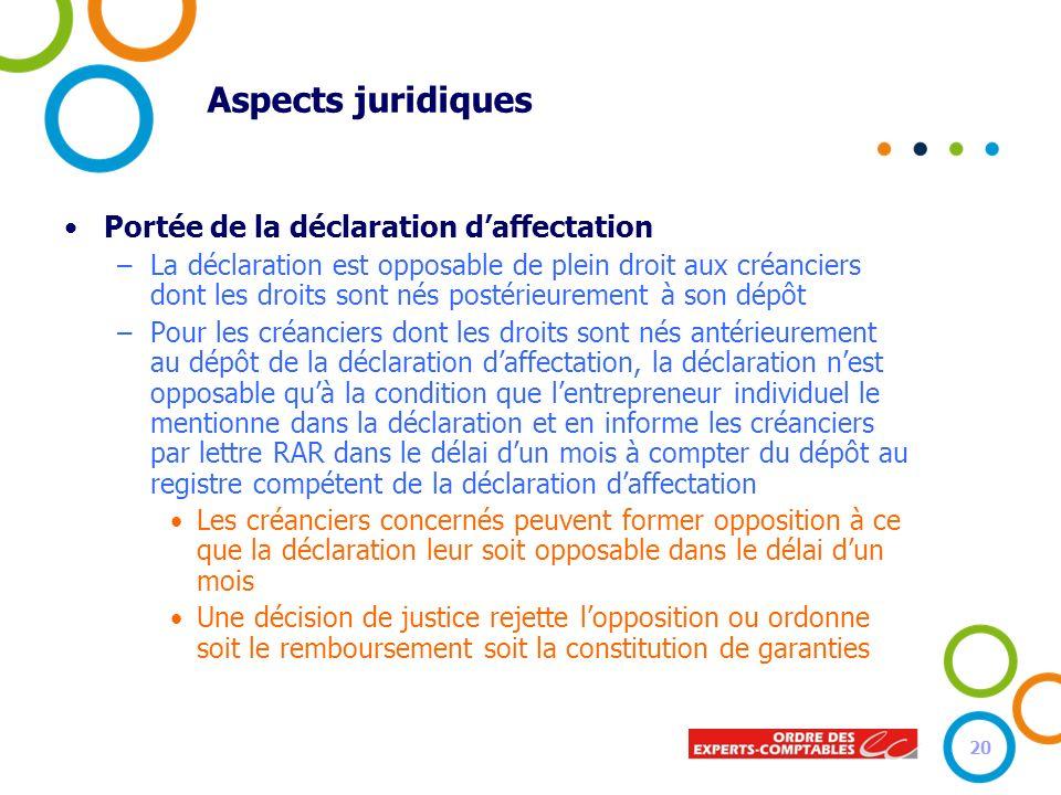 Aspects juridiques Portée de la déclaration d'affectation
