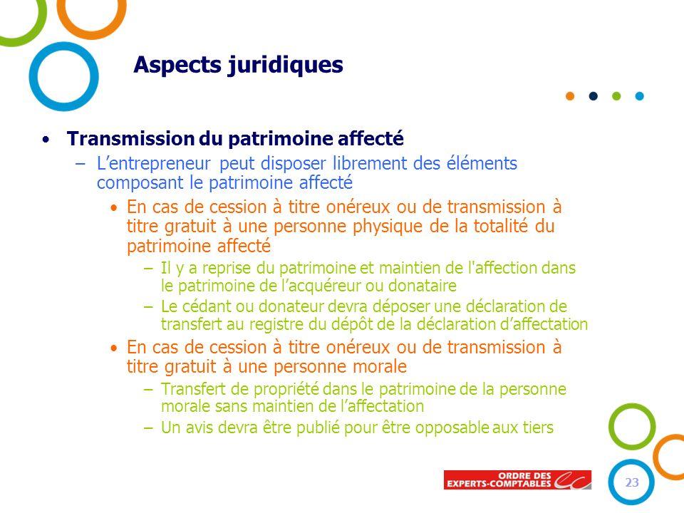 Aspects juridiques Transmission du patrimoine affecté