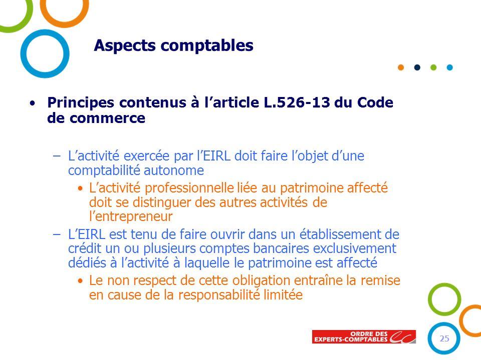 Aspects comptables Principes contenus à l'article L.526-13 du Code de commerce.