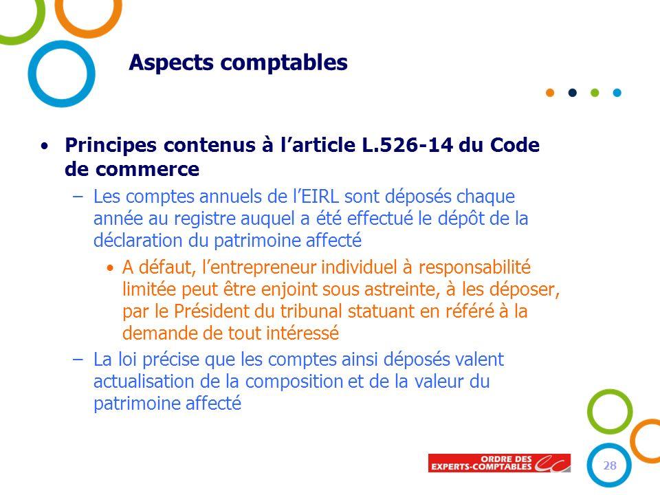 Aspects comptables Principes contenus à l'article L.526-14 du Code de commerce.
