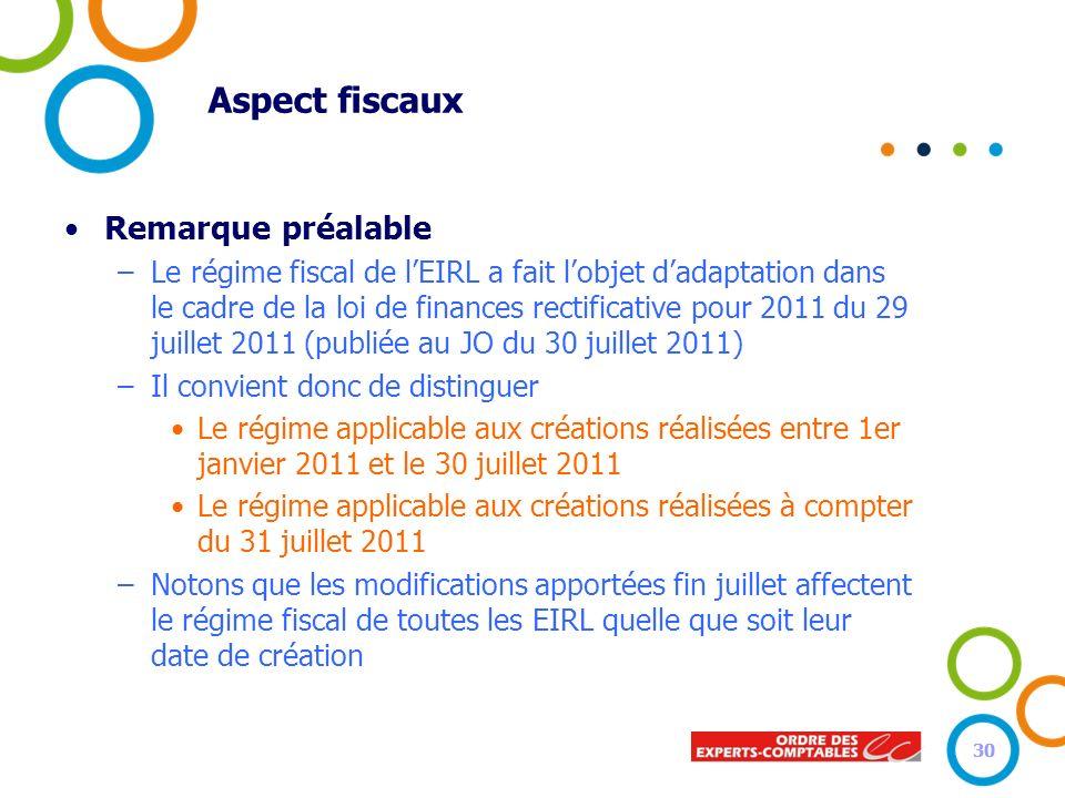 Aspect fiscaux Remarque préalable