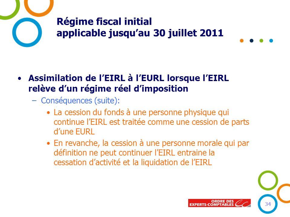 Régime fiscal initial applicable jusqu'au 30 juillet 2011