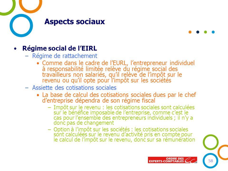 Aspects sociaux Régime social de l'EIRL Régime de rattachement