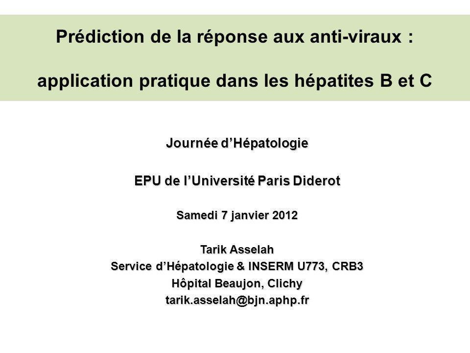 Prédiction de la réponse aux anti-viraux : application pratique dans les hépatites B et C