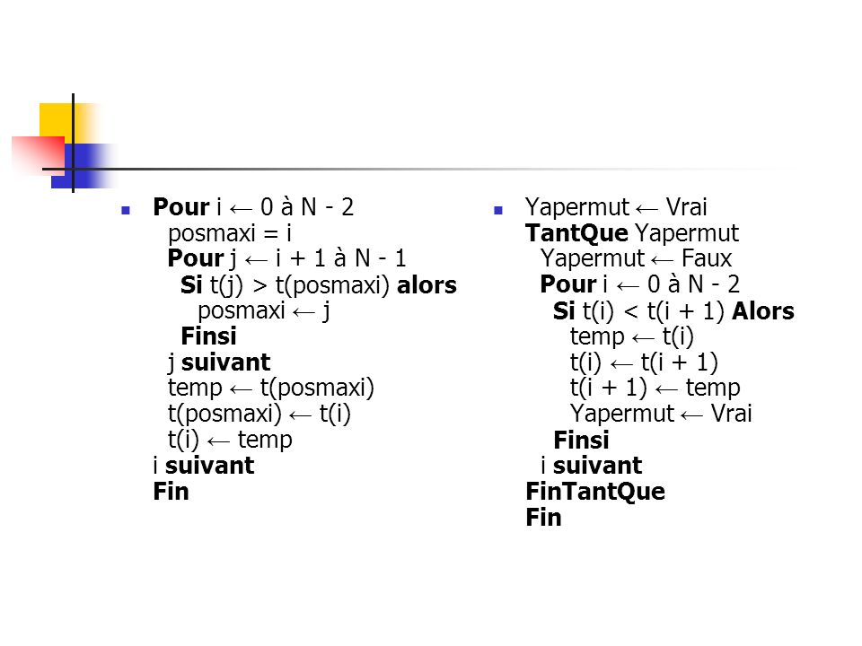 Pour i ← 0 à N - 2 posmaxi = i Pour j ← i + 1 à N - 1 Si t(j) > t(posmaxi) alors posmaxi ← j Finsi j suivant temp ← t(posmaxi) t(posmaxi) ← t(i) t(i) ← temp i suivant Fin