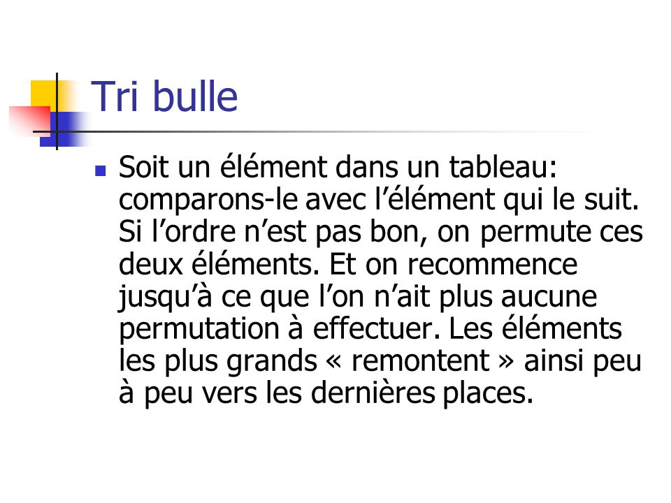 Tri bulle