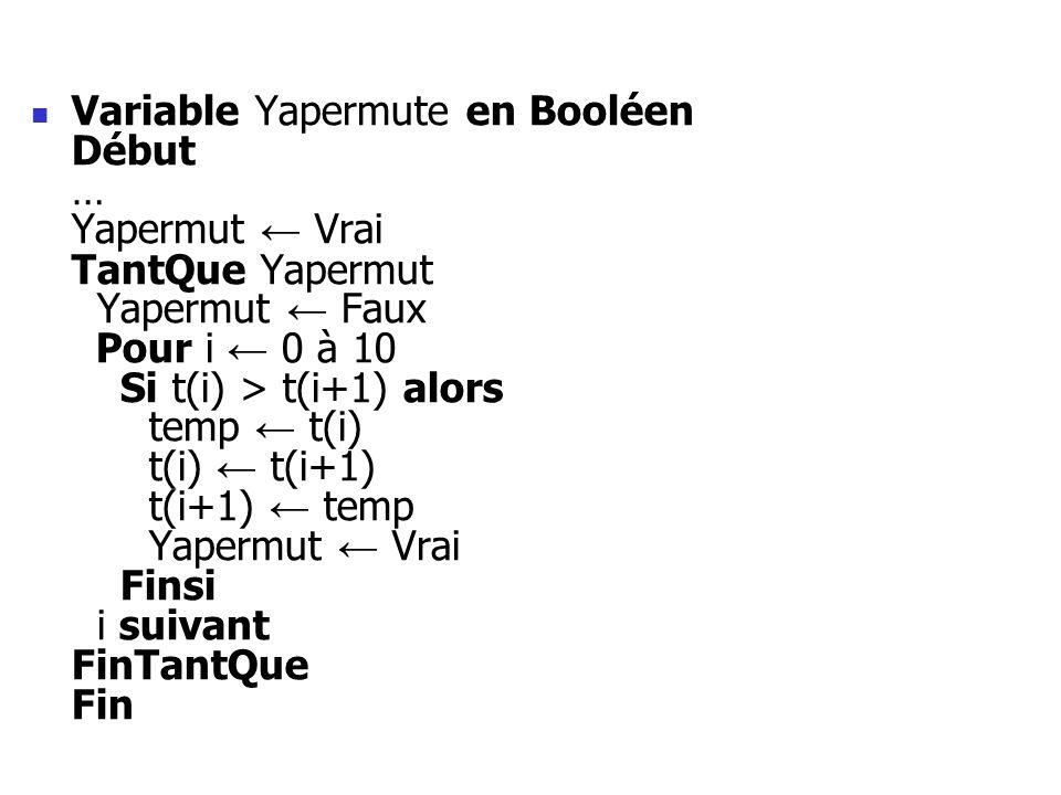 Variable Yapermute en Booléen Début … Yapermut ← Vrai TantQue Yapermut Yapermut ← Faux Pour i ← 0 à 10 Si t(i) > t(i+1) alors temp ← t(i) t(i) ← t(i+1) t(i+1) ← temp Yapermut ← Vrai Finsi i suivant FinTantQue Fin