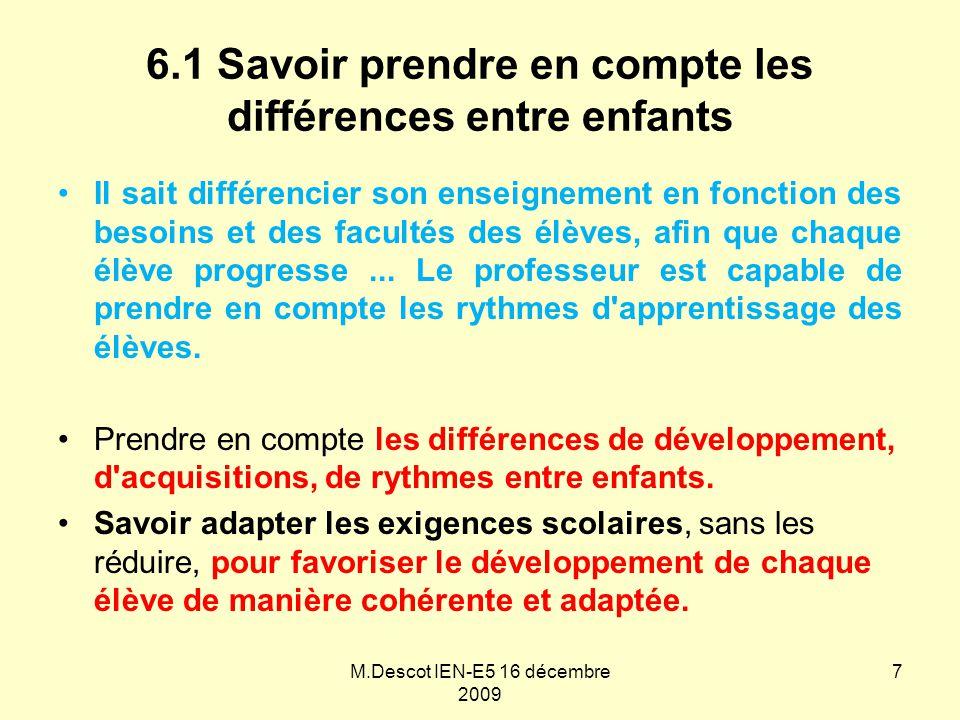 6.1 Savoir prendre en compte les différences entre enfants