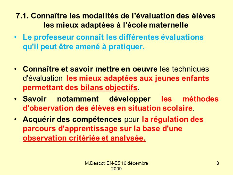 M.Descot IEN-E5 16 décembre 2009