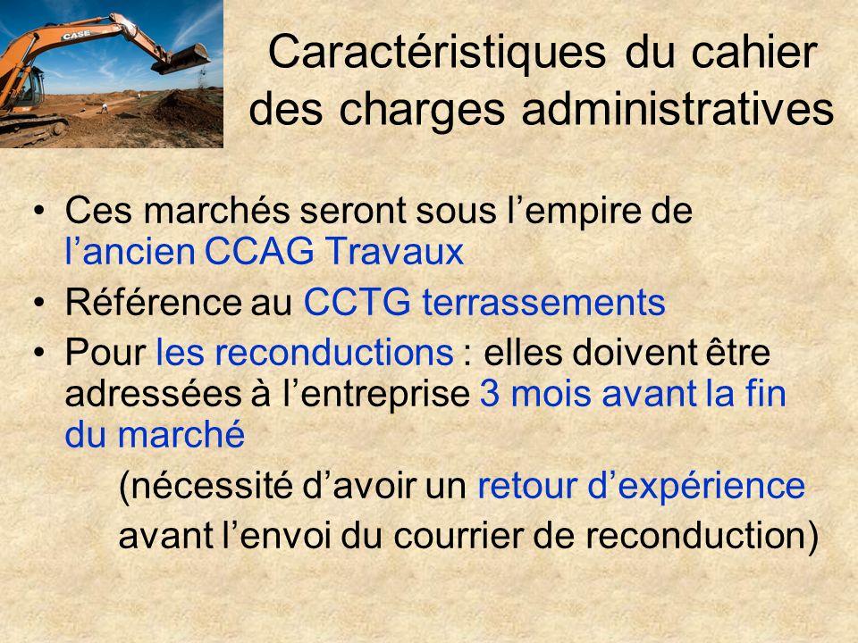 Caractéristiques du cahier des charges administratives