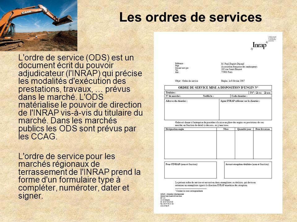 Les ordres de services