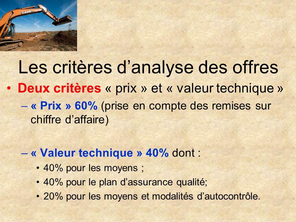 Les critères d'analyse des offres