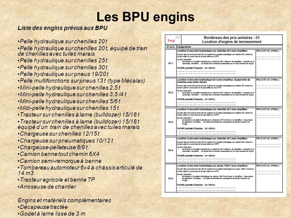 Les BPU engins Liste des engins prévus aux BPU