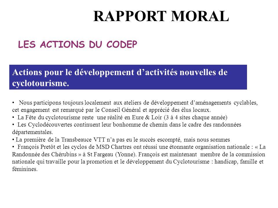 RAPPORT MORAL LES ACTIONS DU CODEP
