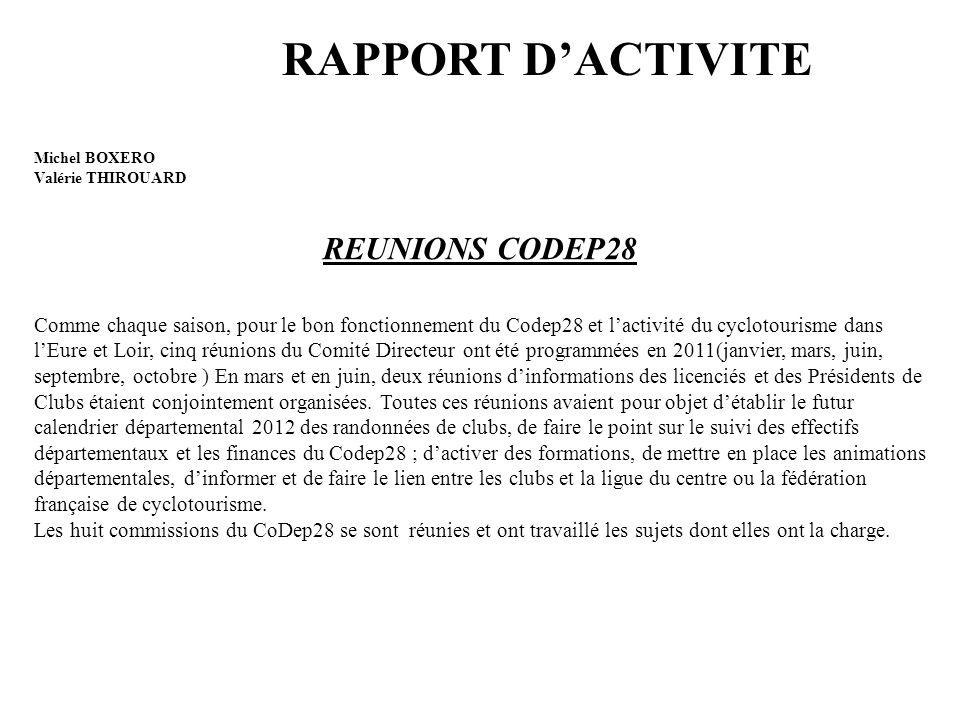 RAPPORT D'ACTIVITE REUNIONS CODEP28