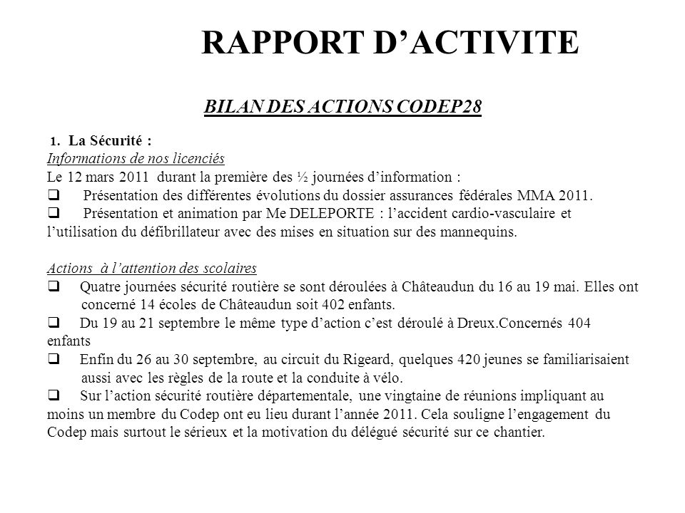 BILAN DES ACTIONS CODEP28