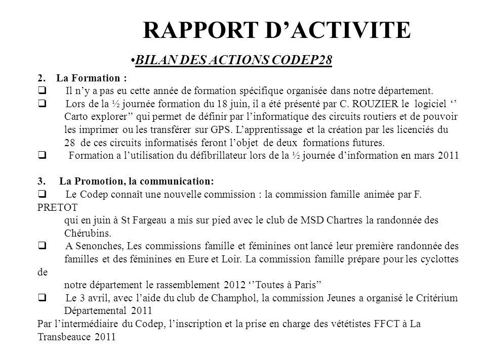 RAPPORT D'ACTIVITE BILAN DES ACTIONS CODEP28 2. La Formation :
