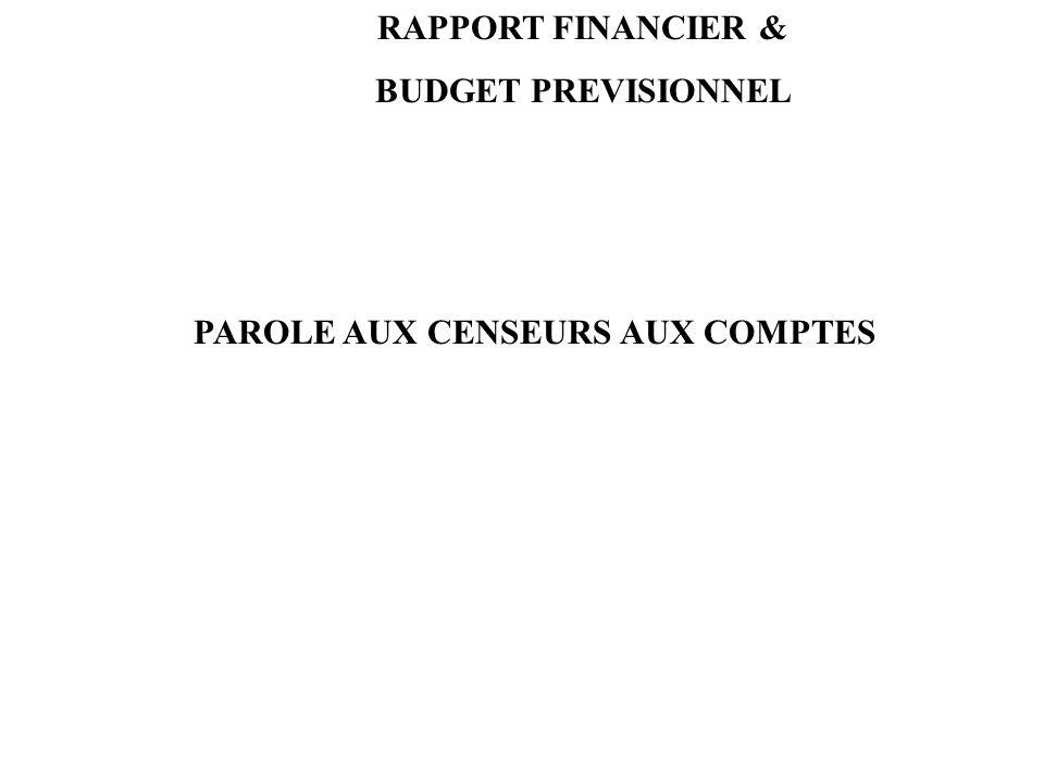 RAPPORT FINANCIER & BUDGET PREVISIONNEL PAROLE AUX CENSEURS AUX COMPTES