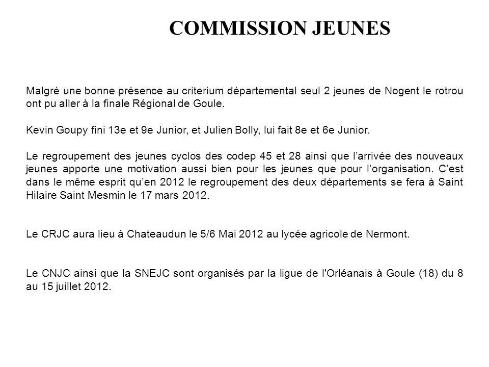 COMMISSION JEUNES Malgré une bonne présence au criterium départemental seul 2 jeunes de Nogent le rotrou ont pu aller à la finale Régional de Goule.