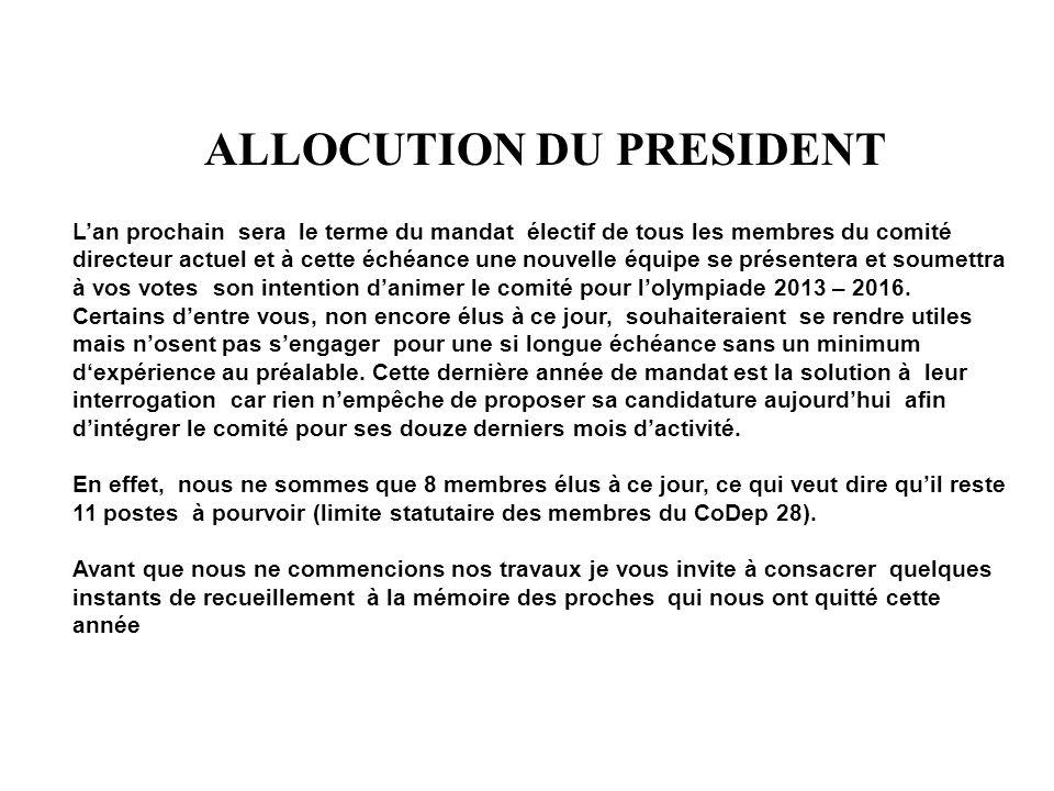 ALLOCUTION DU PRESIDENT