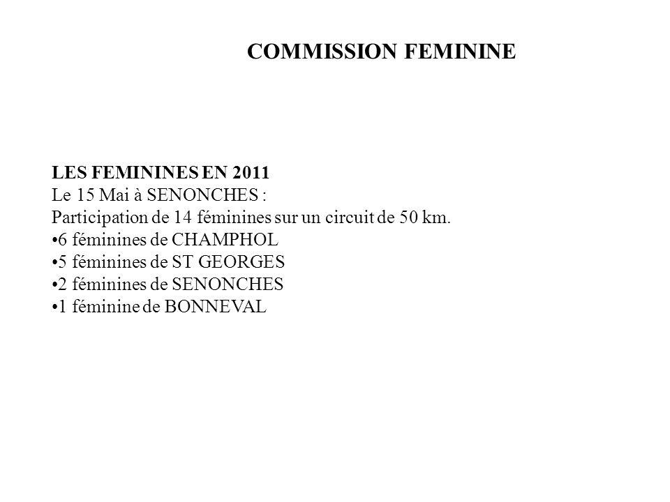 COMMISSION FEMININE LES FEMININES EN 2011 Le 15 Mai à SENONCHES :