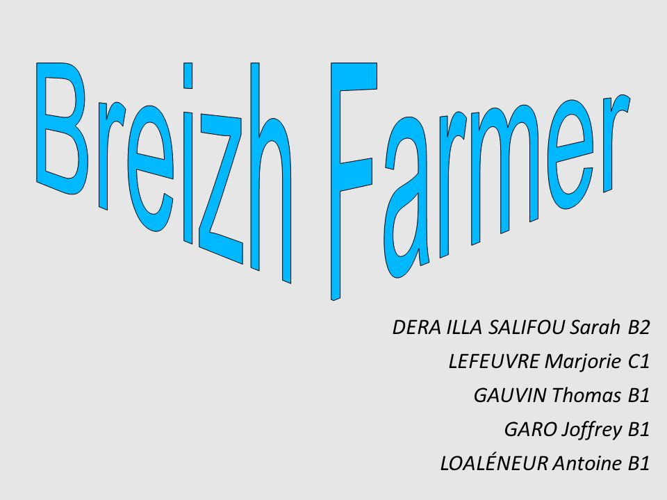 Breizh Farmer DERA ILLA SALIFOU Sarah B2 LEFEUVRE Marjorie C1