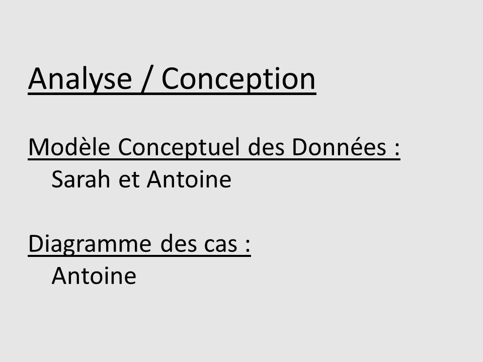 Analyse / Conception Modèle Conceptuel des Données : Sarah et Antoine