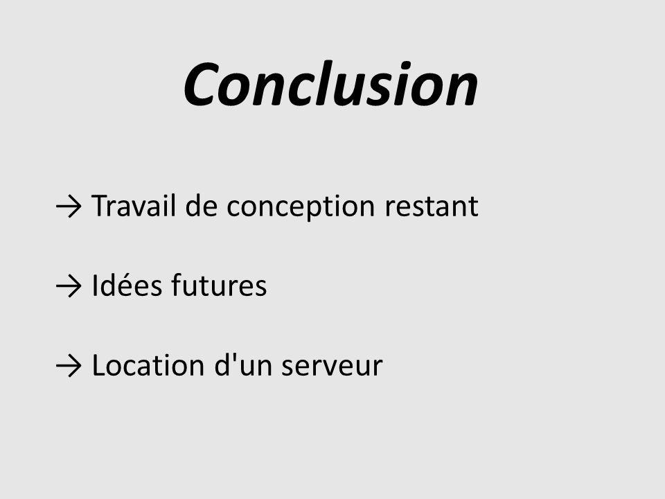 Conclusion → Travail de conception restant → Idées futures
