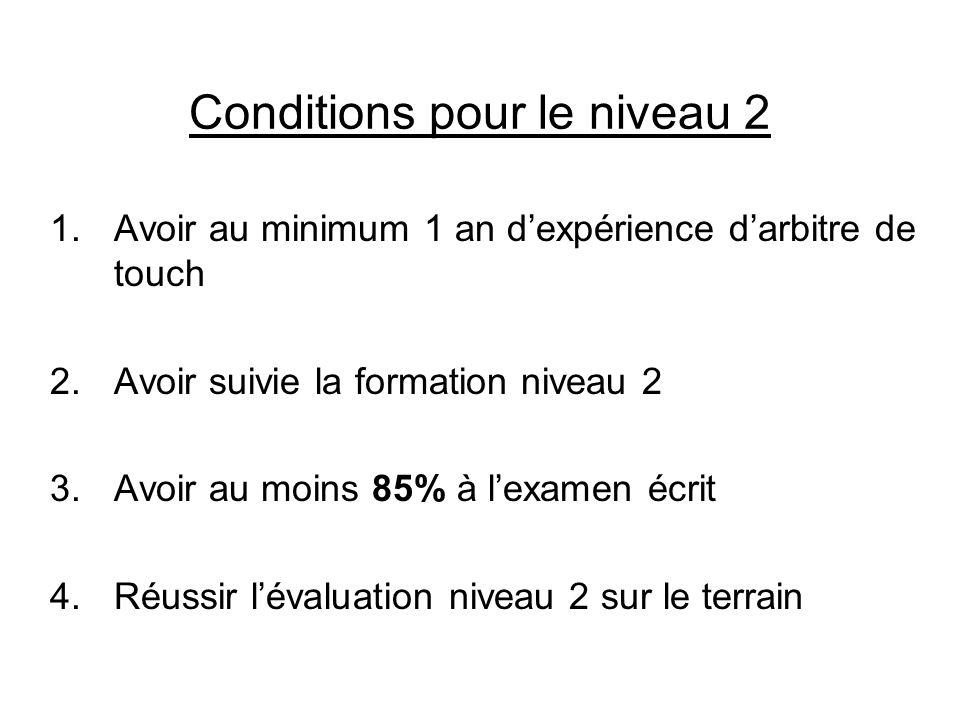 Conditions pour le niveau 2