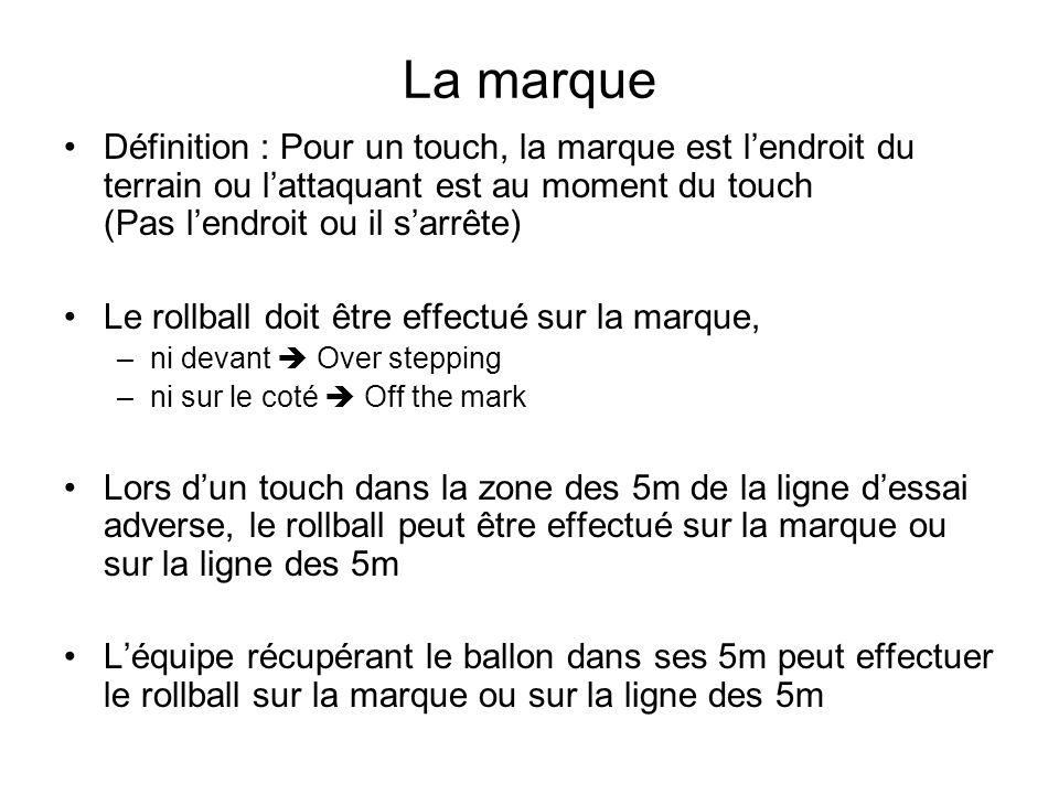 La marque Définition : Pour un touch, la marque est l'endroit du terrain ou l'attaquant est au moment du touch (Pas l'endroit ou il s'arrête)