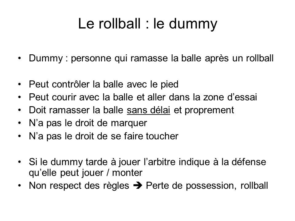 Le rollball : le dummy Dummy : personne qui ramasse la balle après un rollball. Peut contrôler la balle avec le pied.