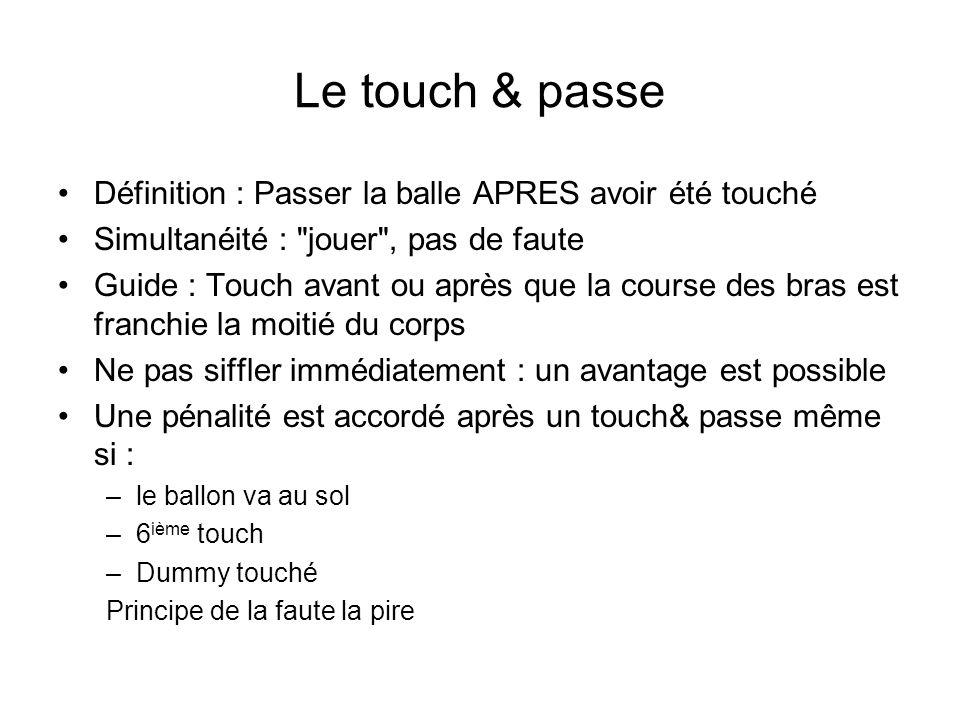 Le touch & passe Définition : Passer la balle APRES avoir été touché