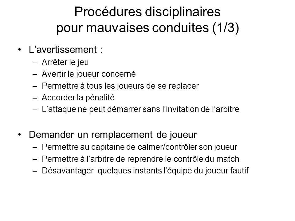 Procédures disciplinaires pour mauvaises conduites (1/3)