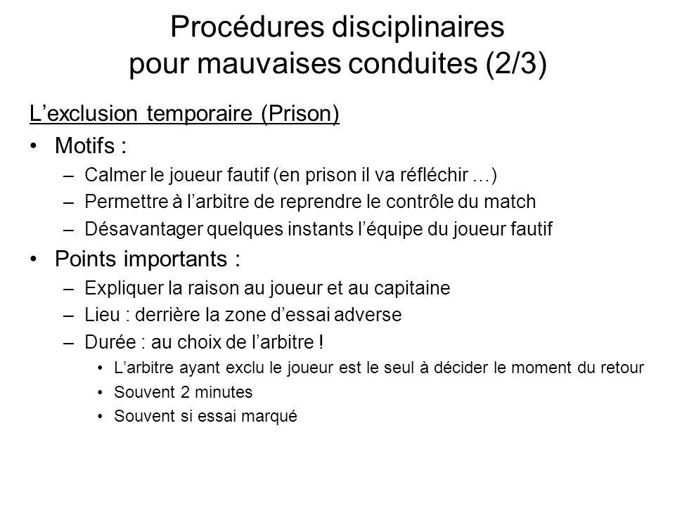 Procédures disciplinaires pour mauvaises conduites (2/3)